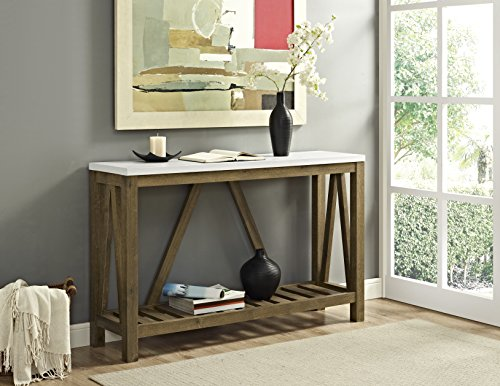 WE Furniture A-Frame Rustic Entry Console Table - Marble/Walnut, 52'
