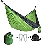 CUTEQUEEN TRADING Double Nest Ultralight Portable Outfitters Parachute Nylon Fabric Hammock For Travel Camping,Backpacking,Kayaking,Color: Green/black