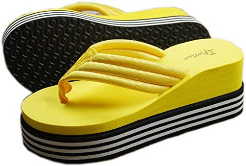 Bettyhome Femmes Arc-en-ciel Antidérapant Tongs Confortables Sandales Décontractées Sandales Plage Tongs Pantoufles (8 B (m) Us = 39 Euros, Jaune)