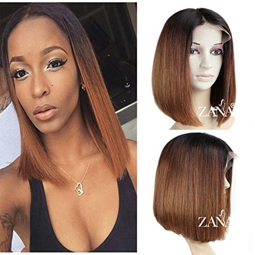ZANA 7A Brazilian Virgin Human Hair Wigs Short Bob Lace Front Wigs for Black Women Straight Bob Cut Wigs 130% Density Ombre Color