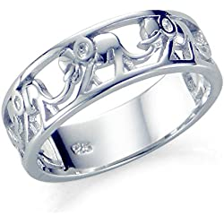 Sz 9 Sterling Silver 925 Elephant Migration Ring