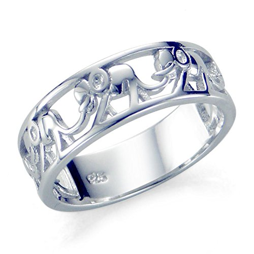Sz 7 Sterling Silver 925 Elephant Migration Ring Sterling Silver Metal Fashion Ring