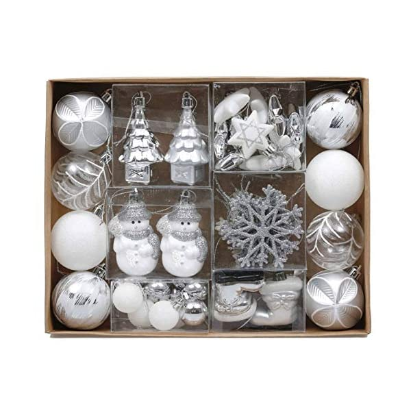 Valery Madelyn Palle di Natale 50 Pezzi di Palline di Natale, 3-5 cm congelato Inverno Argento e Bianco Infrangibile Ornamenti Palla di Natale Decorazione per la Decorazione Dell'Albero di Natale 1 spesavip