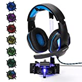 ENHANCE Gaming Headset Stand Headphone Holder with 4 Port USB Hub, Customizable LED Lighting, Flexible Acrylic Neck - Universal Hanger with Weighted Base for Desktop Audio Organization