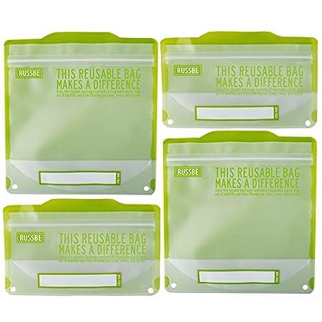 Conjunto de 4 bolsas reutilizables para bocadillos y bocadillos, declaración verde