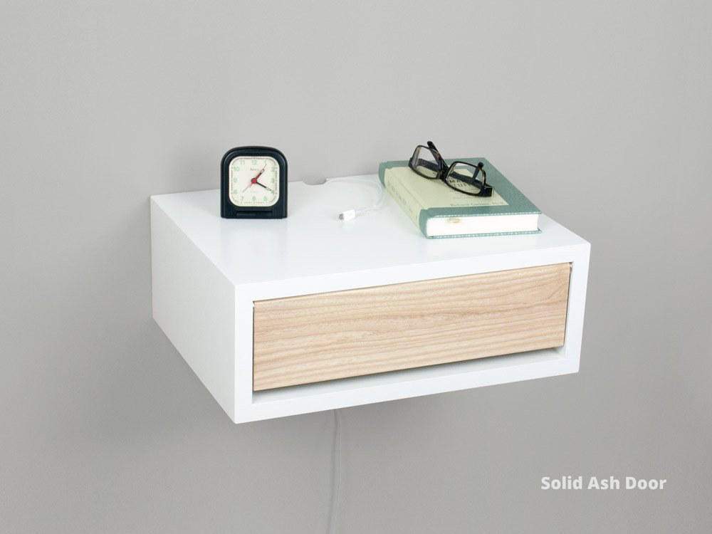 White Contemporary Floating Nightstand, Wall Mount Nightstand, Side Table, Floating Bedside Table