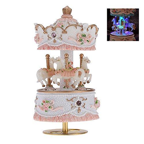 F.Dorla Resin Merry Go Round Carousel Music Box with Led Lighting Birthday Christmas Gifts Toys for Kids Children (Pink)