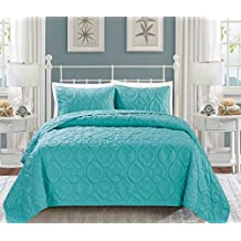 3-Piece Marine QUEEN / FULL Bedspread Turquoise Blue Coverlet Embossed Bed Cover set. Sea Shells, Sea Horse, Starfish etc.