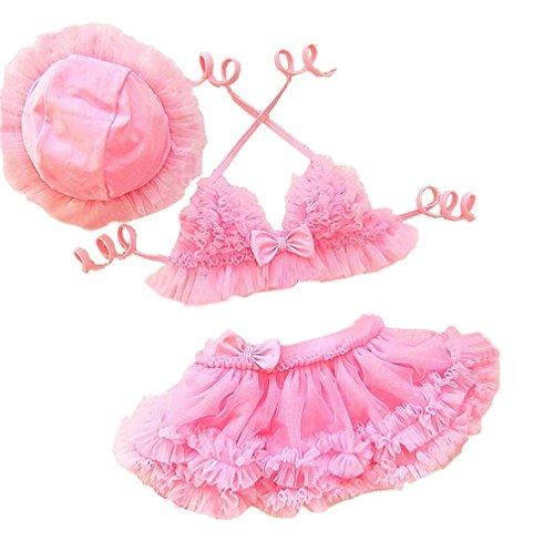 [Taiycyxgan Baby Girls 2pcs Swimsuit Princess Lace Tutu Swimwear Ruffle Bikini Set with Hat Pink 80] (Pageant Suits)