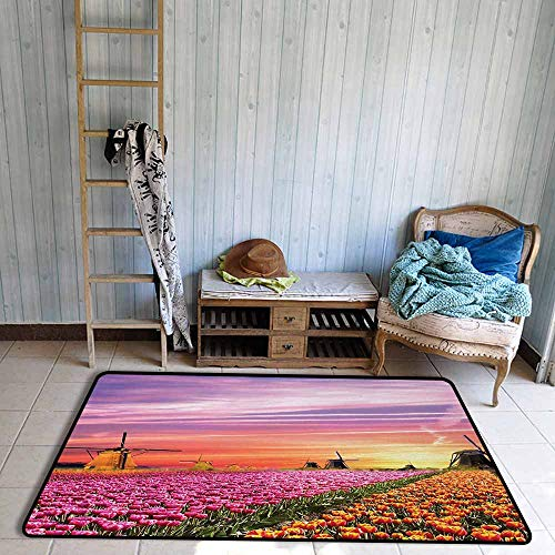 Quick View Tulip - Non-Slip Carpet Nature Tulip Fields and Windmills in European Landscape with a Sunset Sky View Quick and Easy to Clean W59 xL71 Orange Pink Purple