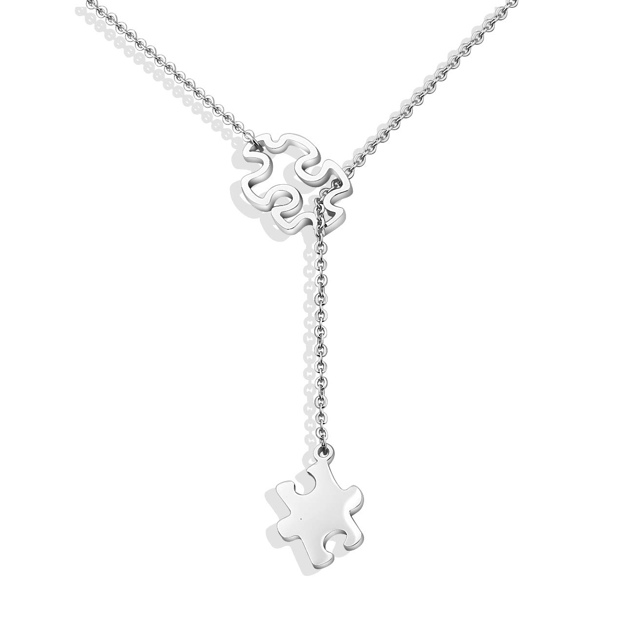 Autism Awareness Puzzle Lariat Necklace Motivational Autism Gift BNQL
