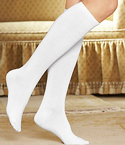 3-Pack Women's Buster Brown Elastic-Free Cotton Knee High Socks White Sock Size 9 - Fits Shoe Size ()