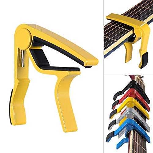 Single-Handed Quick Change Guitar Capo Aluminum Alloy Capo for 6-stringFolk Classical Electric Guitar Ukelele : Yellow