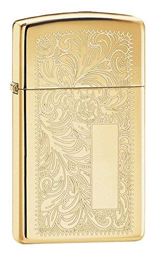 (Personalized Message Engraved Customized Slim Size Zippo Indoor Outdoor Windproof Lighter (Polish Venetian Brass))