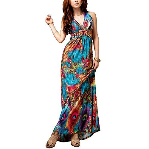 KingMas Women's Fashion Sexy Maxi Dress Peacock Printed Bohemian V-Neck Long Dress (XL)