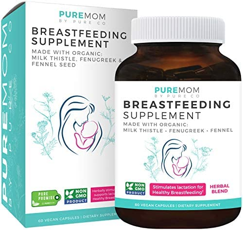 Organic Breastfeeding Supplement – Increase Milk Supply with Herbal Lactation Support – Aid for Mothers – Lactation Supplement – Organic Fenugreek Seed, Fennel Milk Thistle – 60 Vegan Capsules