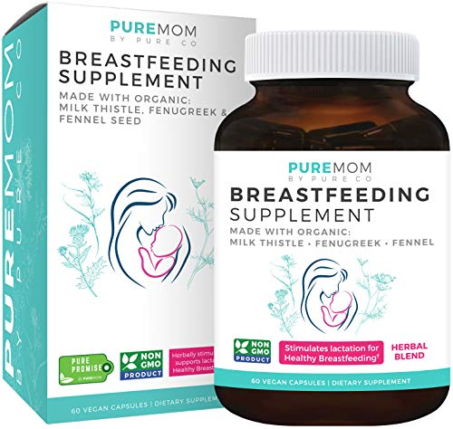 Organic Breastfeeding Supplement - Increase Milk Supply with Herbal Lactation Support - Aid for Mothers - Lactation Supplement - Organic: Fenugreek Seed, Fennel & Milk Thistle - 60 Vegan Capsules (Best Breast Milk Enhancer)