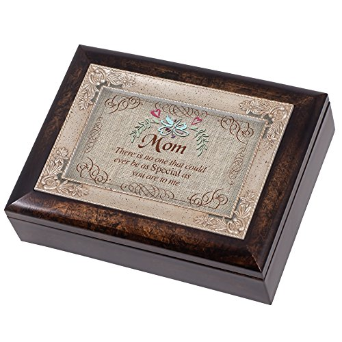 Mom Italian (Special Mom Burlap Design Italian Design Music Box Plays Wind Beneath My Wings)