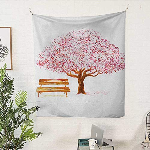 sunsunshine Nature Rectangular Tapestry Watercolor-Blooming-Cherry-Tree-in-The-Park-with-Wooden-Bench-Floral-Artwork-Print Tapestry Throwing Blanket 60W x 91L INCHPink-Brown