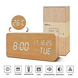 LED Digital Clock--FiBiSonic White Screen Small Travel Alarm Clock Sound Control Table Clock Display Time,Date and Calender
