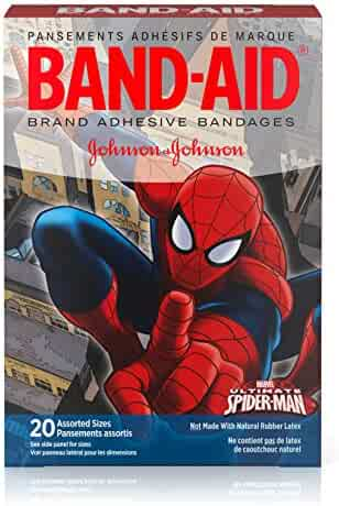 Band-Aid Brand Adhesive Bandages for Minor Cuts, Marvel Spiderman Characters, Assorted Sizes, 20 ct