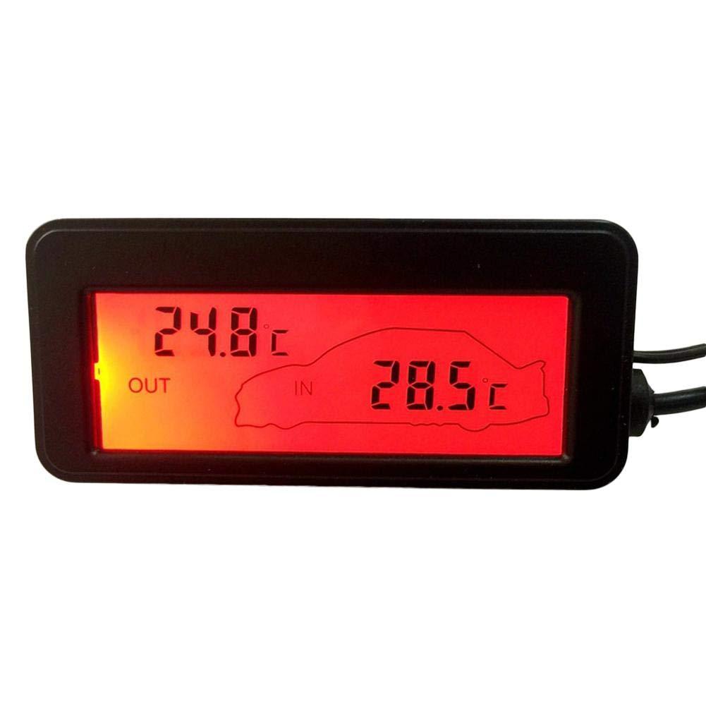 Wonderfulrita Tallde DC12V Auto Thermometer Hintergrundbeleuchtung Mini Thermometer LCD Auto Au/ßen Innen Thermometer