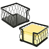 3 X 3 Metal Chicken Wire Mesh Sticky Note Dispensers, Office Memo Pad Holder with Black Matte Finish, Set of 2