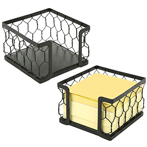 3 X 3 Metal Chicken Wire Mesh Sticky Note Dispensers, Office Memo Pad Holder with Black Matte Finish, Set of 2 by MyGift