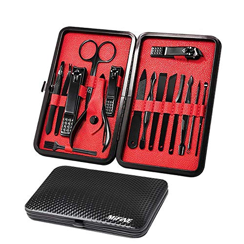 Groom Black Kit - Mens Manicure Set - Mifine 16 In 1 Stainless Steel Professional Pedicure Kit Nail Scissors Grooming Kit with Black Leather Travel Case Second Generation(Red)