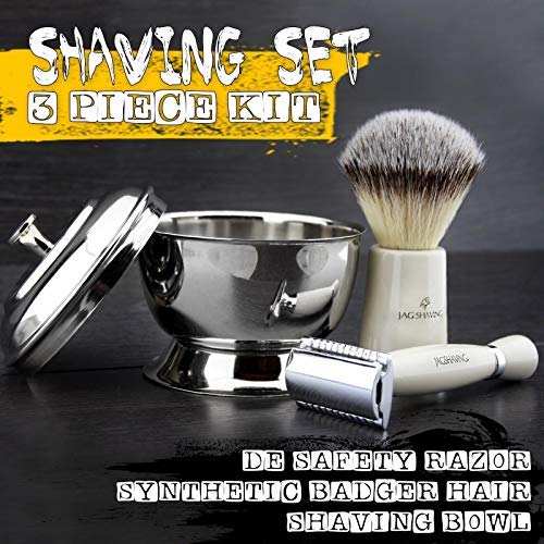 Price comparison product image White Resin Handle New Collection Men's Shaving Set by Jag Shaving With SilverTip Synthetic Hair Brush,  Double Edge replaceable Blade Head Razor,  Stainless steel Mirror Shine Bowl with Lid.