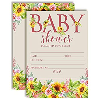 Amazon Com Watercolor Sunflower And Peony Floral Baby Sprinkle Baby