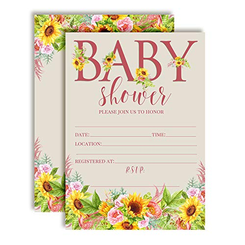 Watercolor Sunflower and Peony Floral Baby Sprinkle Baby Shower Invitations, 20 5