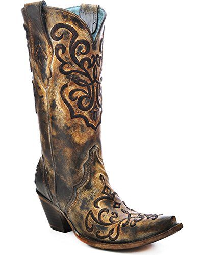 CORRAL Women's Cord Stitch Cowgirl Boot Snip Toe Brown 8.5 M US