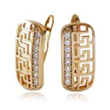 Olenata Yellow 18k Gold Earrings for Women - Cubic Zirconia CZ Filigree Leverback Earrings