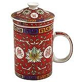 Chinese Longevity Red Lotus Ceramic Tea