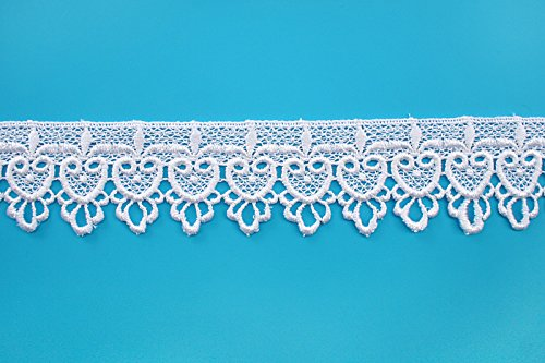 Altotux 2 Embroidered Floral Scalloped Venice Lace Trim Victorian Guipure Sewing Supplies By Yard (White)