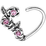 Body Candy Steel Pink Accent Roses Heart Right Daith Cartilage Tragus Earring 16 Gauge 3/8''