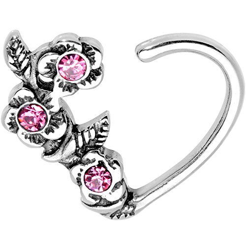 Body Candy Steel Pink Accent Roses Heart Right Daith Cartilage Tragus Earring 16 Gauge 3/8'' by Body Candy
