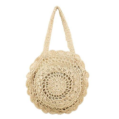 Summer Shopping Beige Handbags Shoulder Women Beach Round Bags Totes Woven Crotch Powlance f6Z1w6