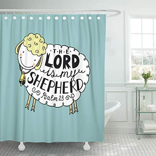 Emvency Waterproof Fabric Shower Curtain Hooks Hand Lettering The Lord is My Shepherd Made in Form of Funny Sheep Bell Biblical Christian Psalm Extra Long 72