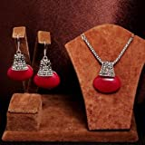 2PCS new oval Design antique silver Necklace eardrop Jewelry Set Womens gift#bypimchanok shop (Red)