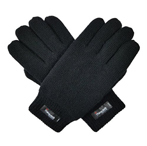 Bruceriver Men's Pure Wool Knitted Gloves with Thinsulate Lining and Elastic Rib Cuff Size XXL (Black)