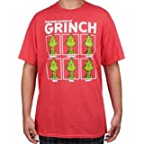 Dr. Seuss Grinch Mens T-Shirt Who Stole Christmas Many Moods Print (Red, Medium)
