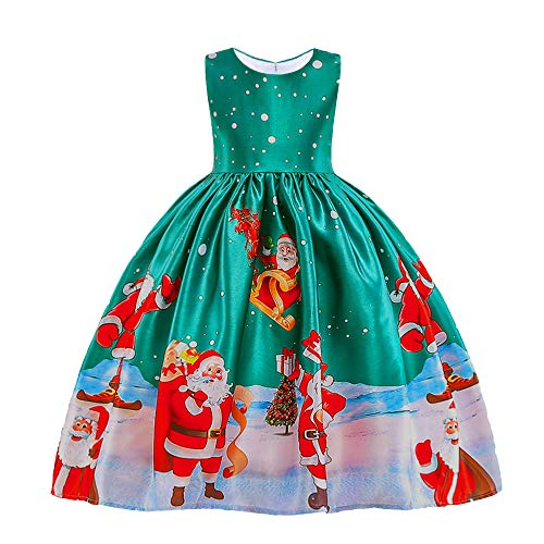 HUANQIUE Girls Dress Christmas Eve Xmas Snow Holiday Party Dresses Green 8-9 Years -