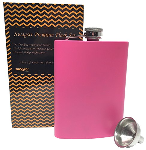 Swagstr Flask with funnel and Gift Box! 304 (18/8) 8oz Stainless Steel Leak Proof Pink Silver Metal Hip Flasks for Alcohol Liquor Spirits Whiskey Vodka - Gift Set (Pink)