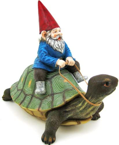 Private Label Large Garden Gnome Riding Turtle Statue Patio Pool