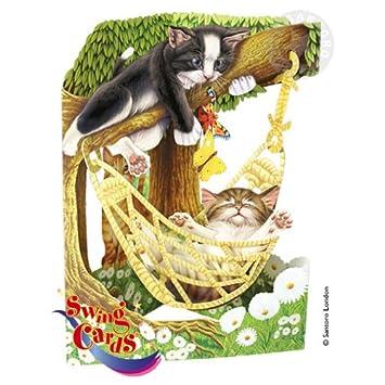 Swing Card Katzen In Hängematte Basteln Malen Nähen 3 D