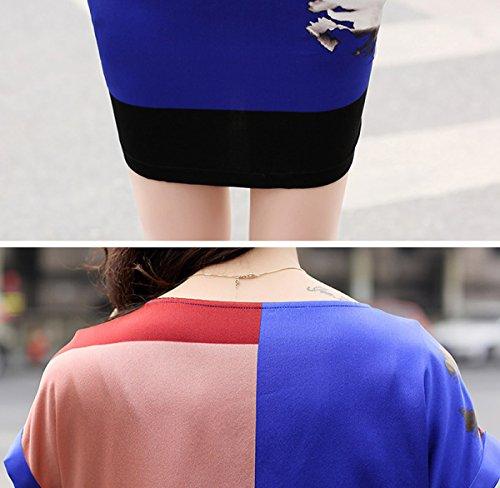 Seide E Blau girl Kleid Midi Kleider Damen Übergröße Geblümt Cocktail Abendkleid S937 UAqdr0U