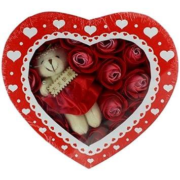 Skque caja con oso de peluche y petalos de rosas rojas Bath Body Soap