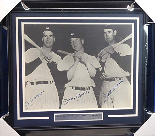 Mickey Mantle, Joe DiMaggio & Ted Williams Autographed Framed 16x20 Photo Beckett BAS #A20743
